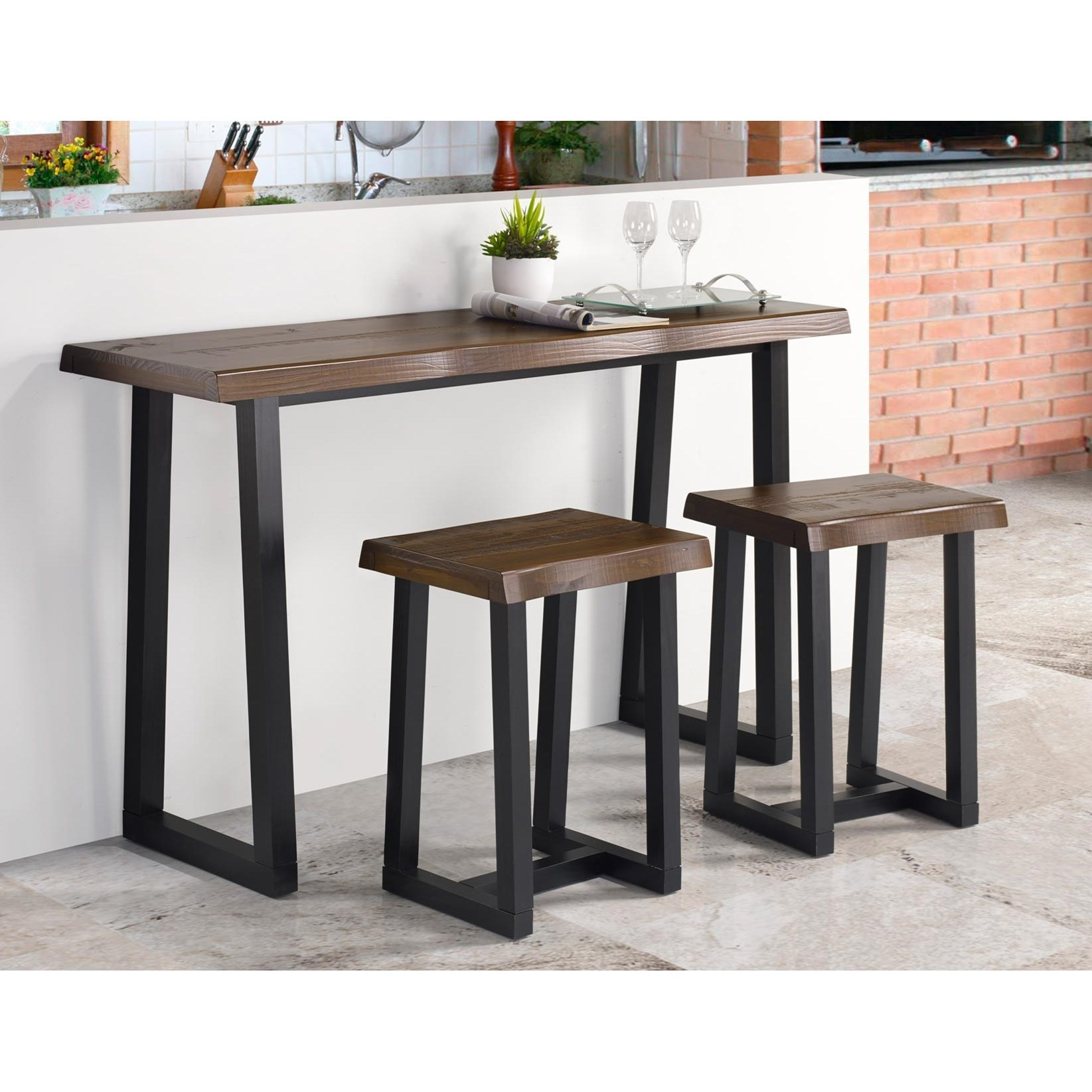 Jennings 3-Piece Bar Table Set by Steve Silver at Walker's Furniture