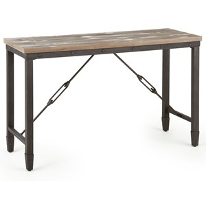 Industrial Sofa Table with Iron Base