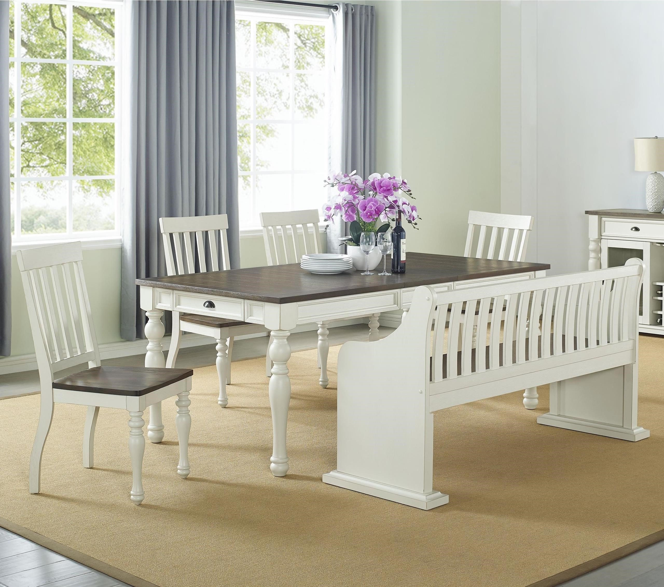 Joanna Dining Set with Bench with Back by Steve Silver at Walker's Furniture