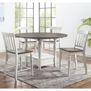 5-Piece Farmhouse Round Counter Table Set with Drop Leaves and  Lazy Susan