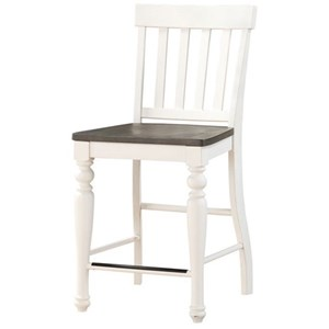 Counter Height Stool with Slat Backrest