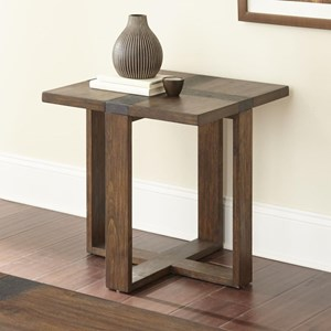 End Table with Iron Cross Design