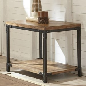 Industrial End Table with Metal Frame