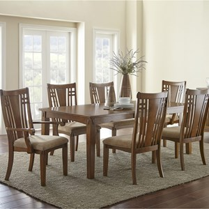 "Mission 7 Piece Rectangular Table and Chair Set with 20"" Leaf"