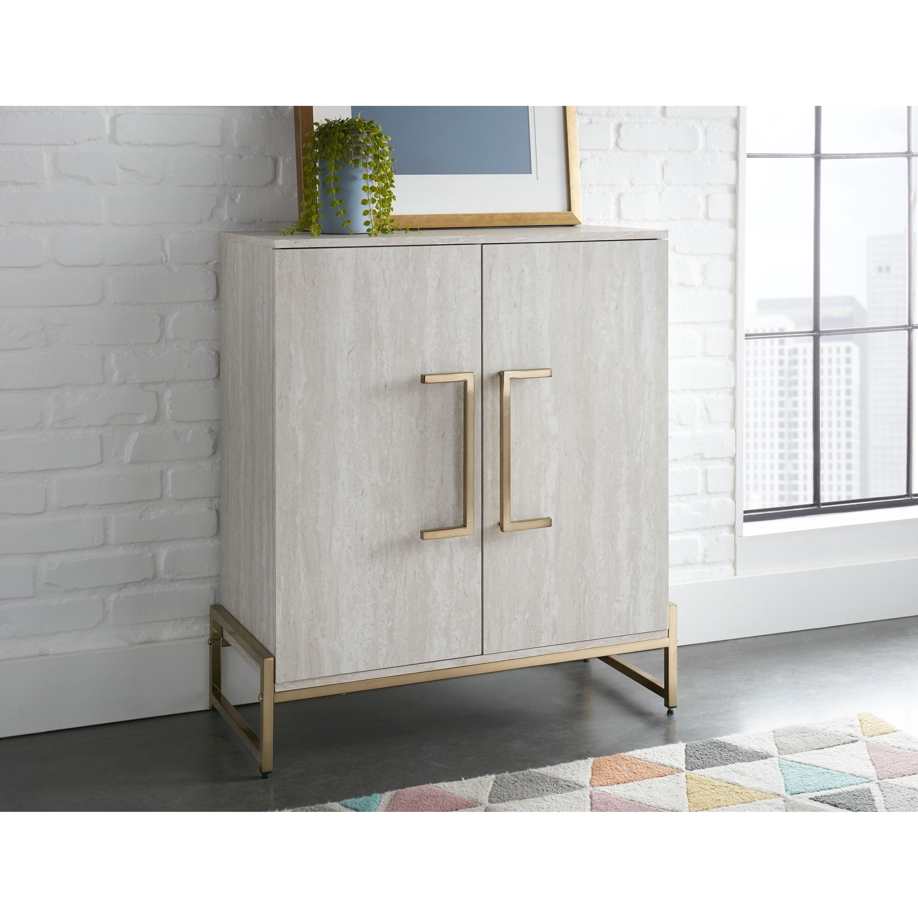 Larkin Faux Marble Wine Cabinet by Steve Silver at Standard Furniture