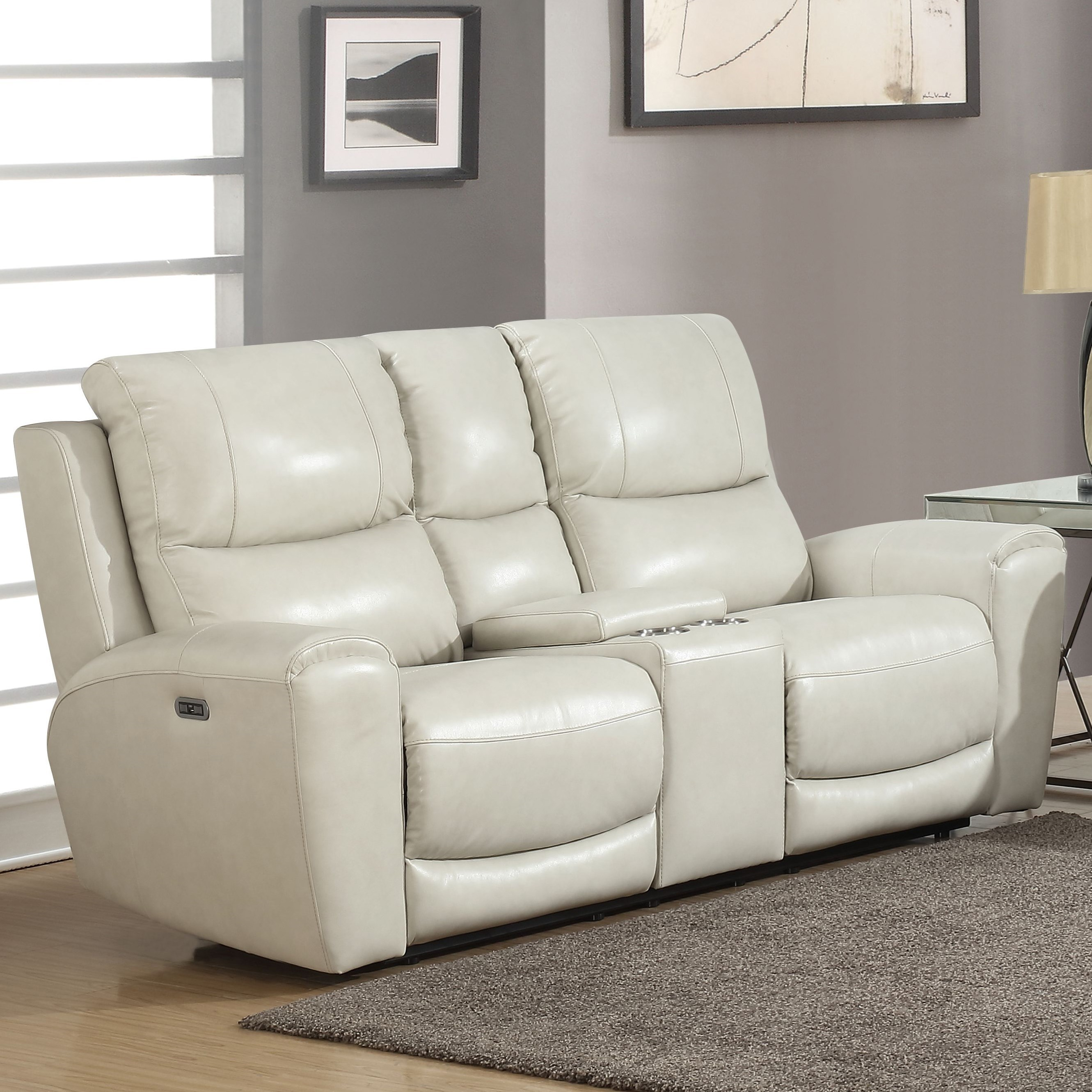 Laurel Power Recliner Loveseat w/ Console by Steve Silver at Northeast Factory Direct