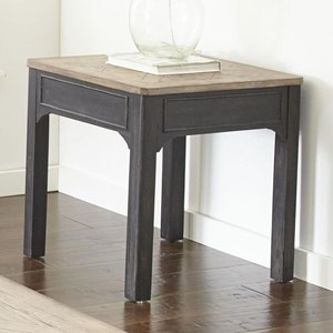 Square End Table with Carved Wood Top