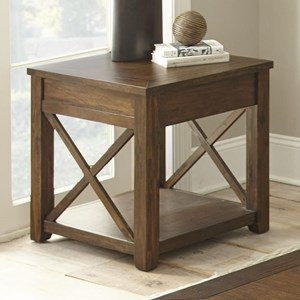 Farmhouse Square End Table with X Side Panels