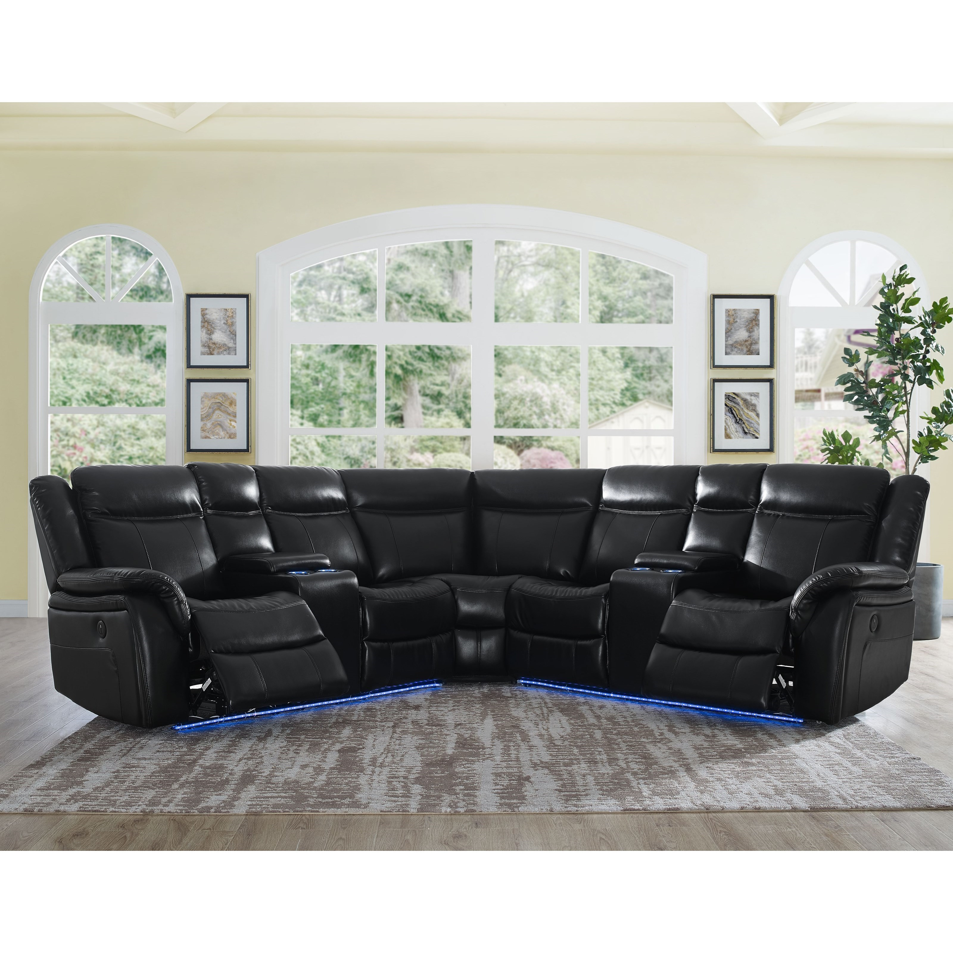 Levin 4 Seat Power Reclining Sectional Sofa by Steve Silver at Darvin Furniture