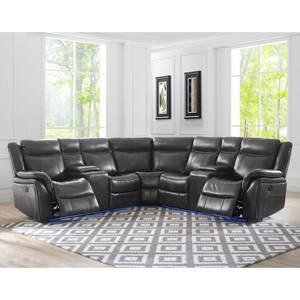 4 Seat Power Reclining Sectional Sofa with Theater Lighting and USB Charging Ports
