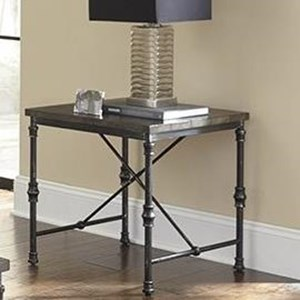 Transitional End Table with Metal Base
