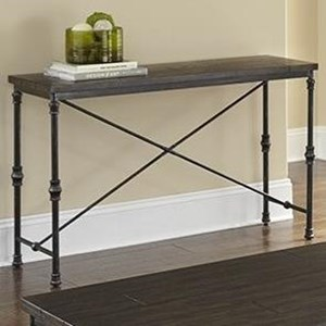 Transitional Sofa Table with Metal Base