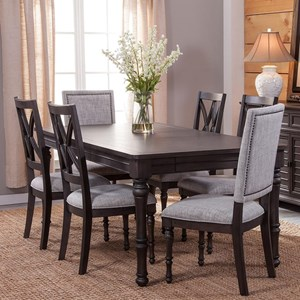 Transitional 7 Piece Dining Set with Removable Leaves