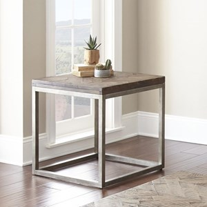 Industrial End Table with Metal Base