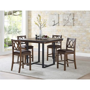 Rustic-Industrial 5 Piece Counter Table and Chair Set