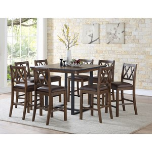 Rustic-Industrial 9 Piece Counter Table and Chair Set