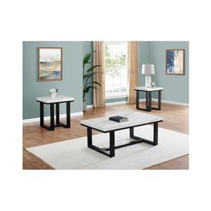 Rectangular Cocktail Table with Marble Top and 2 Square End Tables with Marble Top Set