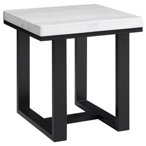 Transitional End Table with Marble Top