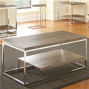 Rectangular Cocktail Table with Metal Frame and Shelf