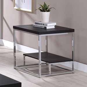 Square End Table with Shelf