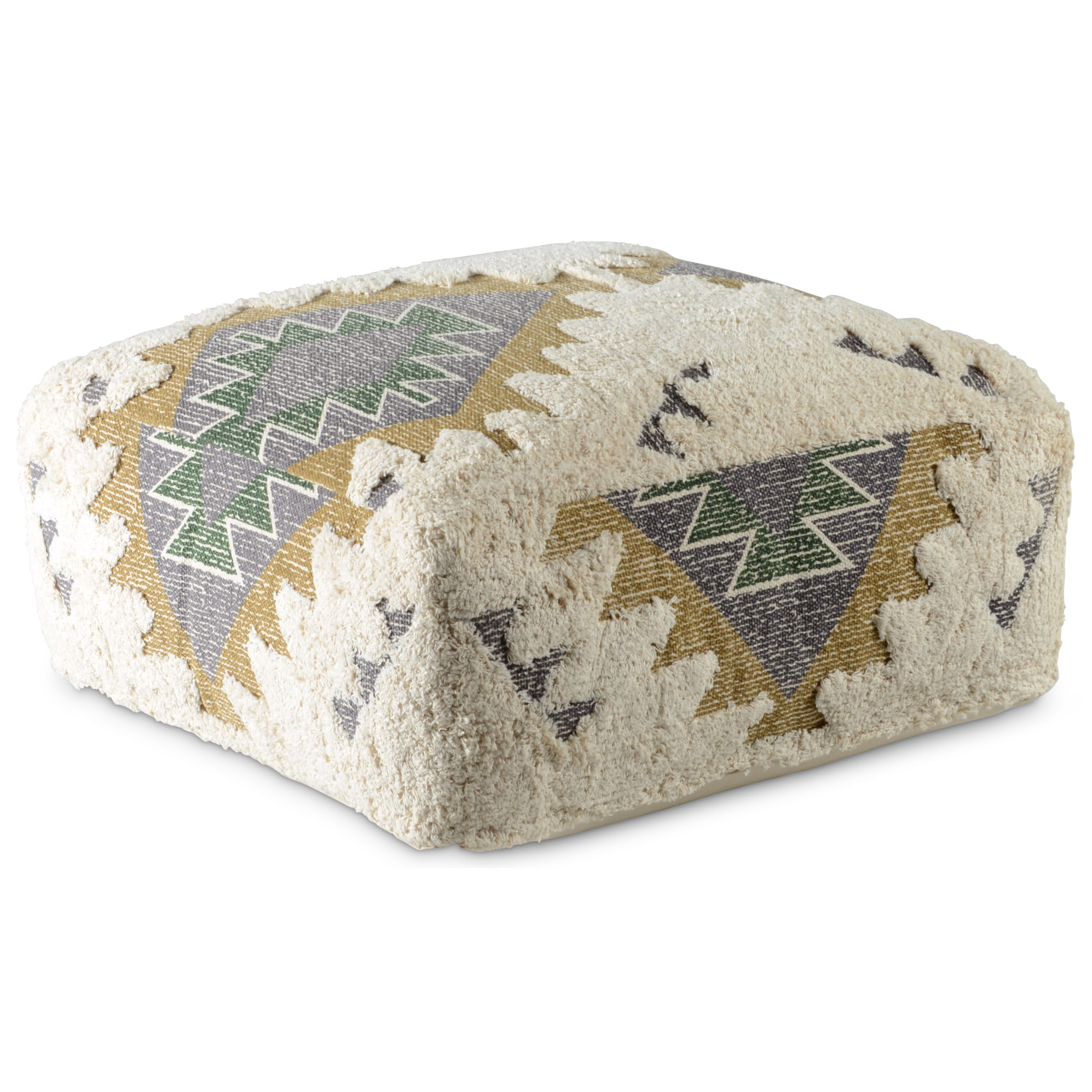 Lyssa Jacquard Fabric Printed Pouf by Star at EFO Furniture Outlet