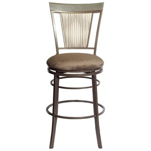 Traditional Swivel Bar Height Chair with Upholstered Seat