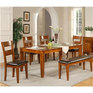 6 Pc. Leg Table with Four Side Chairs and Bench
