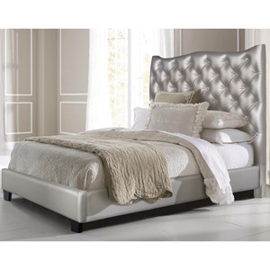 Glam Faux Leather Tufted Queen Bed