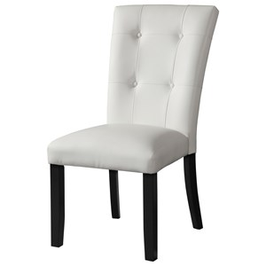 Transitional Faux Leather White Side Chair with Tufted Seatback