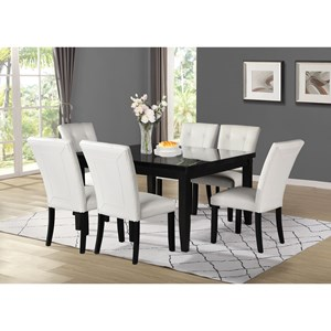 Transitional 7-Piece Square Table and Chair Set with Marble Top