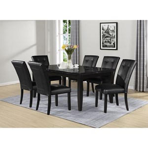 Transitional 7-Piece Rectangular Table and Chair Set with Marble Top