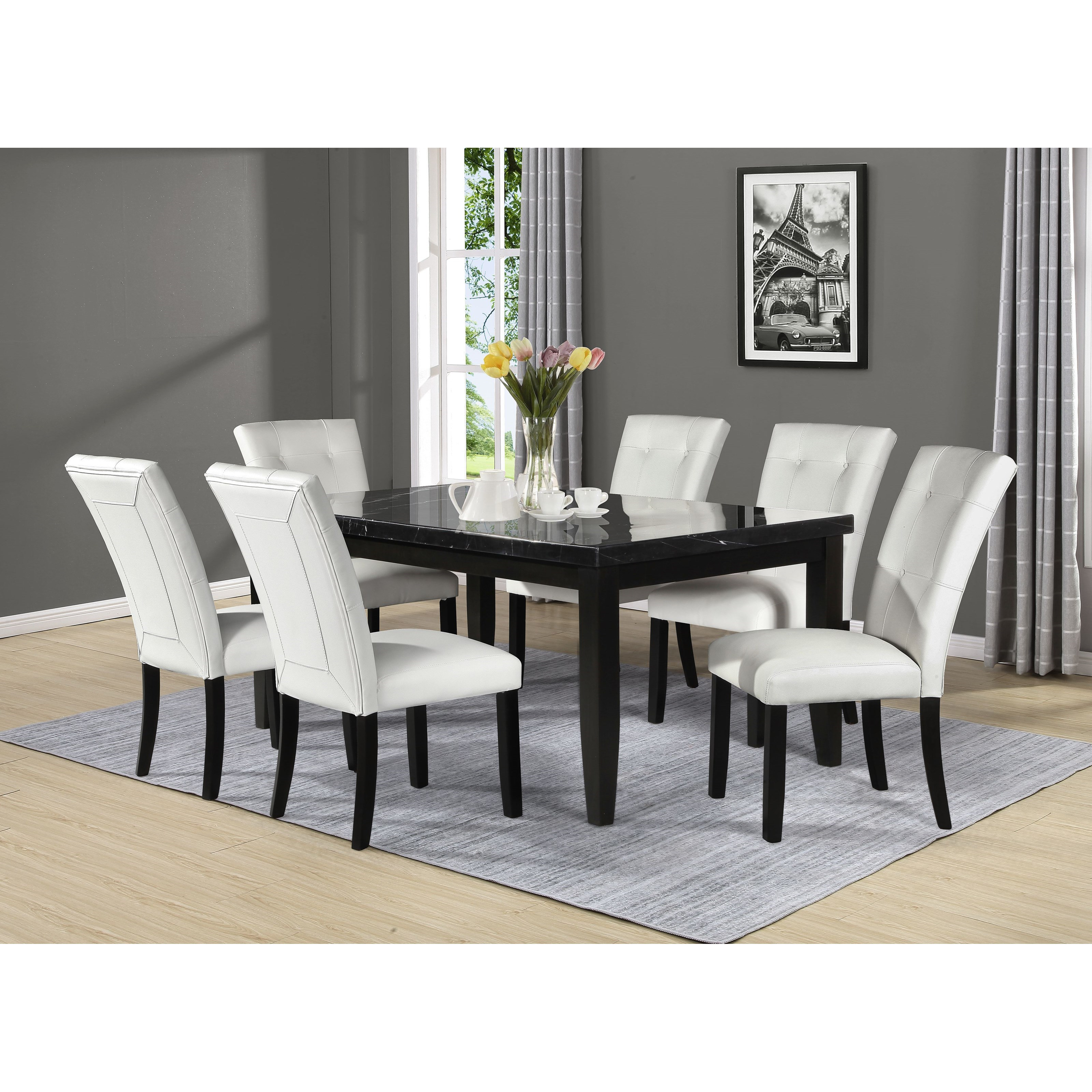 Markina 7-Piece Rectangular Table and Chair Set by Steve Silver at Northeast Factory Direct