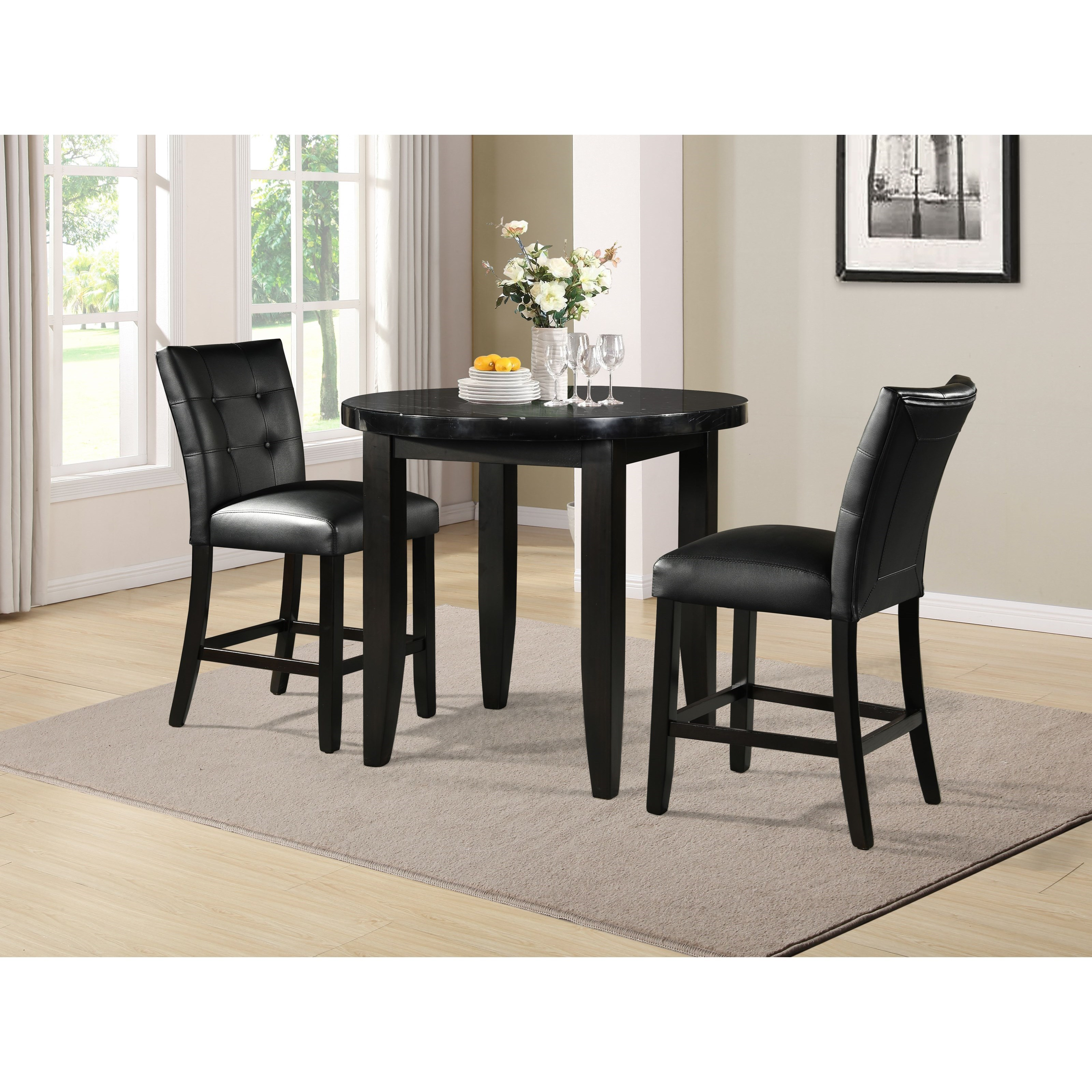 Markina 3-Piece Counter Table and Chair Set by Prime at Prime Brothers Furniture