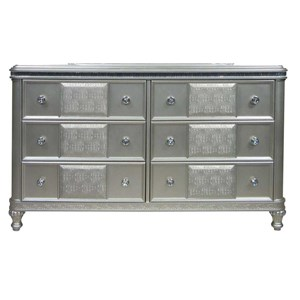 Glam Six Drawer Dresser with Acrylic Crystal Accents