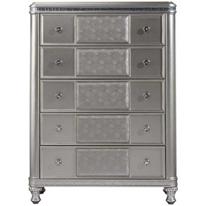 Glam Five Drawer Chest with Acrylic Crystal Accents