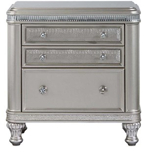 Glam Three Drawer Nightstand with Acrylic Crystal Accents