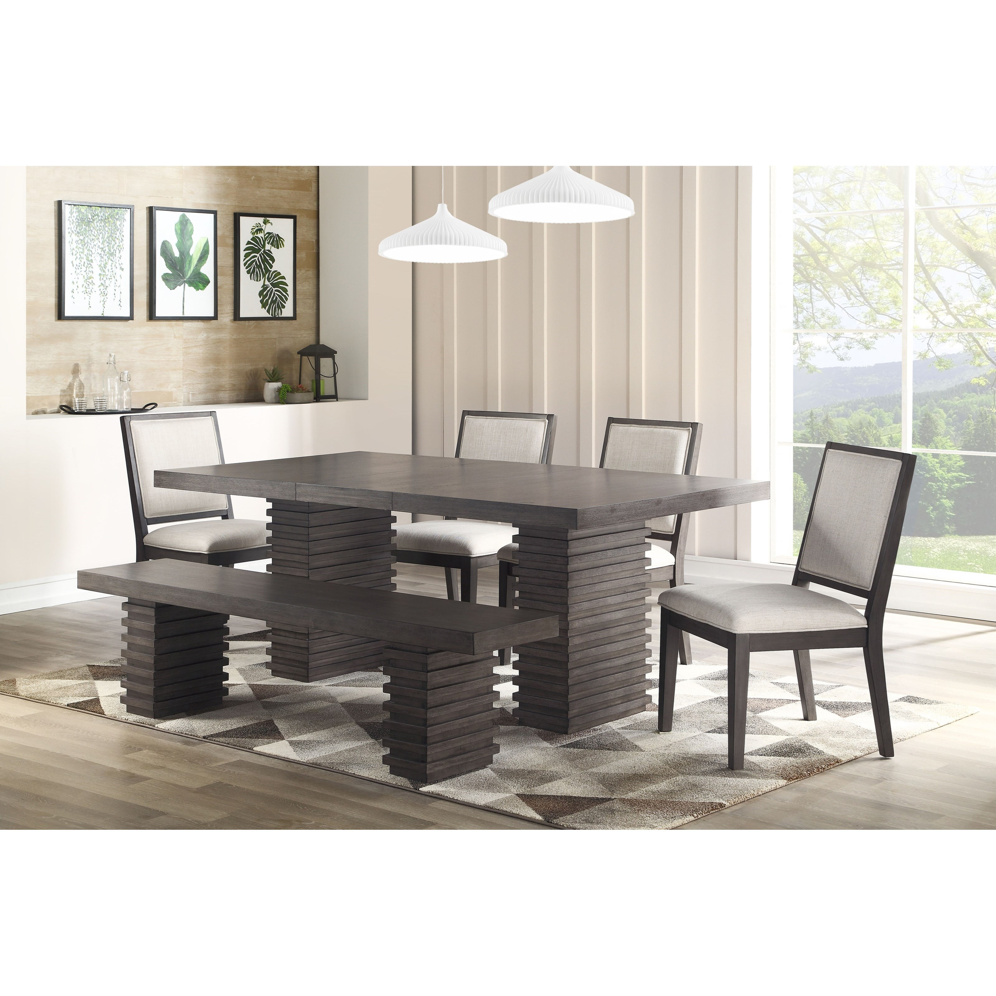 Mila Dining Table and Chair Set with Bench by Steve Silver at Northeast Factory Direct