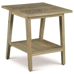 Mid-Century Modern End Table with Herringbone Veneer Top