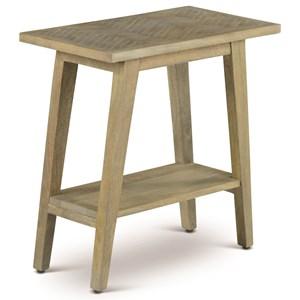 Mid-Century Modern Table Side End Table with Herringbone Veneer Top