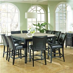 9 Pc. Marble Veneer Top Counter Height Leg Table, Parson Stools