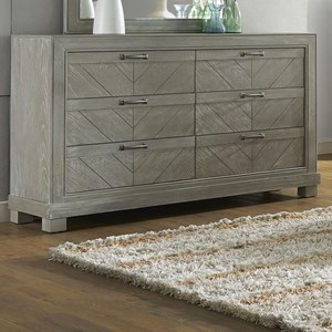 Rustic Six Drawer Dresser with Chevron Veneer