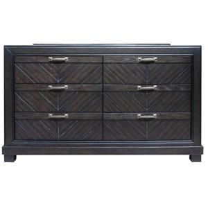 Rustic Six Drawer Dresser with Chevron Veneer