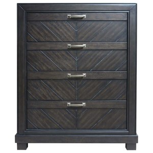 Rustic Four Drawer Chest with Chevron Veneer