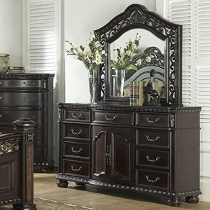 Traditional 9 Drawer Dresser and Arched Mirror Combo