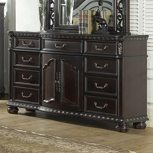 Traditional 9 Drawer Dresser with Center Doors