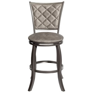 Transitional Swivel Barstool with Upholstered Back and Seat