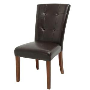 Brown Tufted Parsons Chair