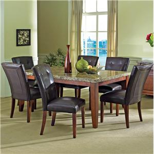 7-Piece Rectangular Marble Veneer Top Table and Side Chair Set