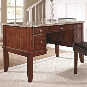 Marble Top Writing Desk in Brown Cherry Finish