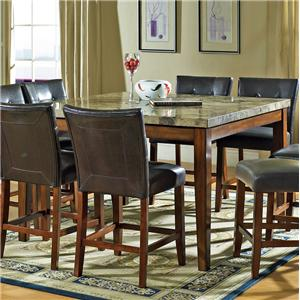 Transitional Counter Height Marble Veneer Top Dining Table